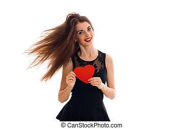 cuore, amore, bellezza, valentine, concept., isolato, giovane, studio, sfondo rosso, bianco, ragazza, giorno