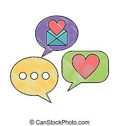 cuore, amore, busta, discorso, messaggio, bolla