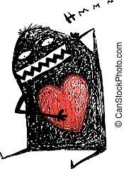 cuore, amore, carattere, interno., divertimento, amasing, scarabocchio, cartone animato, rosso