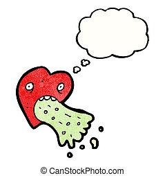 cuore, amore, cartone animato, ammalato