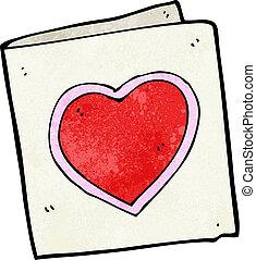 cuore, amore, cartone animato, scheda