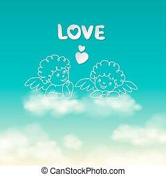 cuore, amore, cielo, soleggiato, due, vettore, fondo, parola, angeli, nuvola