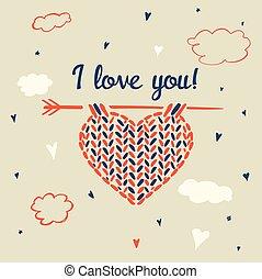 cuore, amore, collegamento, cielo, fondo, you.