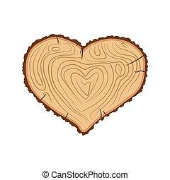 cuore, amore, come, legna ardere, wood., albero.