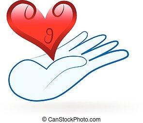 cuore, amore, famiglia, logotipo