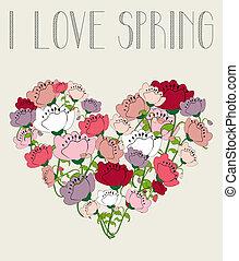 cuore, amore, fondo, fiore, primavera