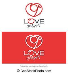 cuore, amore, fotografia, macchina fotografica, logotipo, design., shaped., minimo, icona
