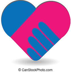cuore, amore, handshaking, logotipo