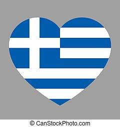 cuore, amore, illustration., simbolo, bandiera, stato, vettore, fondo, greece., icona nazionale