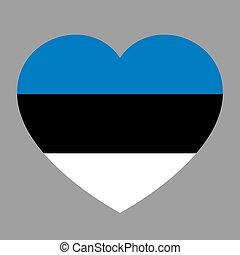 cuore, amore, illustration., simbolo, bandiera, stato, vettore, fondo, icona, nazionale, estonia.