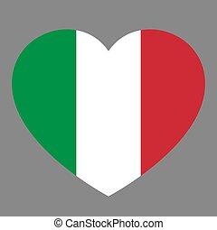 cuore, amore, illustration., simbolo, italy., bandiera, stato, vettore, fondo, icona nazionale