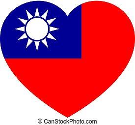 cuore, amore, illustration., simbolo nazionale, bandiera, stato, vettore, fondo, taiwan., icona
