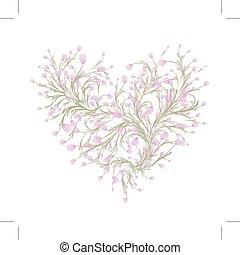 cuore, amore, mazzolino, tuo, forma, disegno floreale