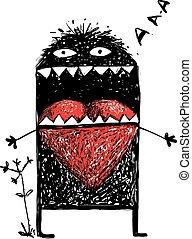 cuore, amore, mostro, rosso, carattere