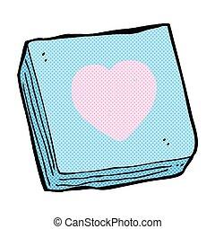 cuore, amore, note, cuscinetto, comico, cartone animato