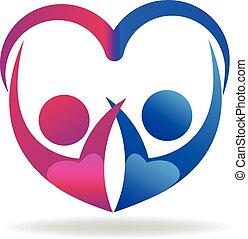 cuore, amore, persone, coppia, vettore, logotipo