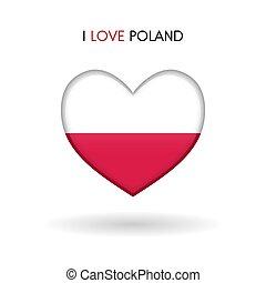 cuore, amore, polonia, simbolo., bandiera, lucido, icona