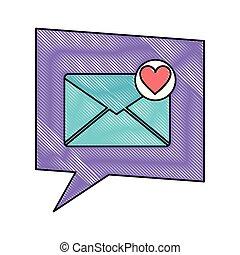 cuore, amore, romanza, discorso, messaggio, bolla