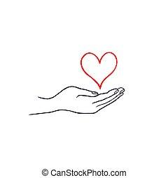 cuore, amore, scarabocchiare, mano., tuo, salute, disegnato, linea, cura, concept., icona