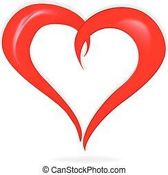 cuore, amore, scheda, logotipo