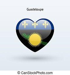 cuore, amore, simbolo., bandiera, icon., guadalupa