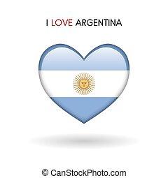 cuore, amore, simbolo., bandiera, lucido, argentina, icona