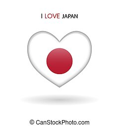 cuore, amore, simbolo., bandiera, lucido, giappone, icona