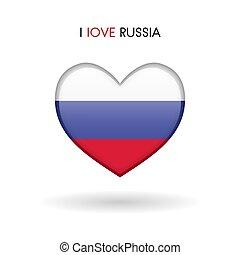 cuore, amore, simbolo., bandiera, lucido, russia, icona