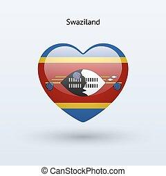 cuore, amore, simbolo., bandiera, swaziland, icon.
