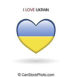 cuore, amore, simbolo., ukrain, bandiera, lucido, icona