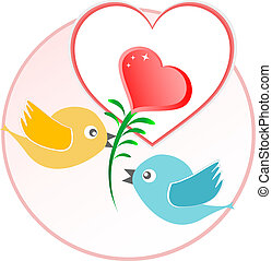 cuore, amore, sopra, vettore, sfondo beige, palloni, uccello, rosso