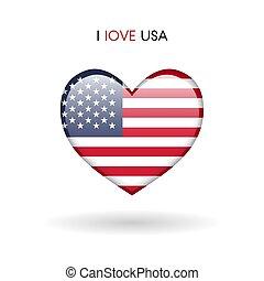 cuore, amore, stati uniti, simbolo., bandiera, lucido, icona