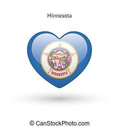 cuore, amore, stato, bandiera minnesota, icon., simbolo.