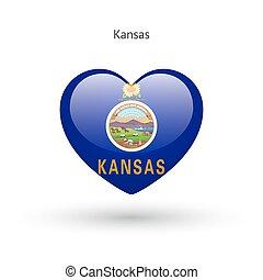 cuore, amore, stato, kansas, simbolo., bandiera, icon.