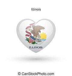cuore, amore, stato, simbolo., bandiera, icon., illinois