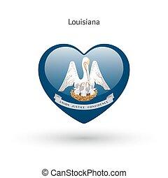 cuore, amore, stato, simbolo., bandiera, icon., louisiana