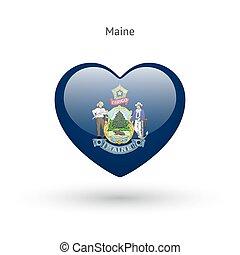 cuore, amore, stato, simbolo., bandiera, icon., maine