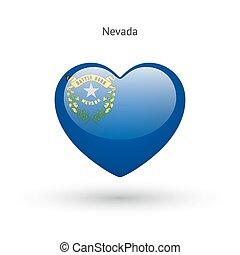 cuore, amore, stato, simbolo., bandiera, icon., nevada