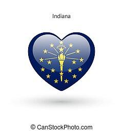 cuore, amore, stato, simbolo., bandiera, indiana, icon.