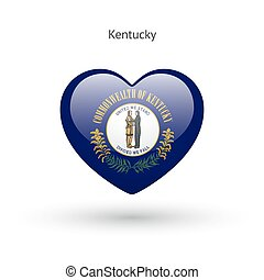 cuore, amore, stato, simbolo., bandiera kentucky, icon.