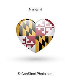 cuore, amore, stato, simbolo., bandiera, maryland, icon.