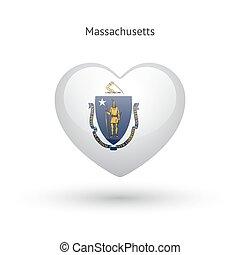 cuore, amore, stato, simbolo., bandiera, massachusetts, icon.