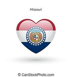 cuore, amore, stato, simbolo., bandiera, missouri, icon.