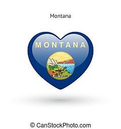 cuore, amore, stato, simbolo., bandiera, montana, icon.
