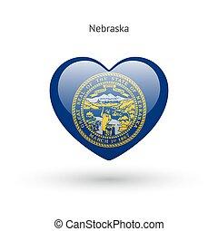 cuore, amore, stato, simbolo., bandiera, nebraska, icon.