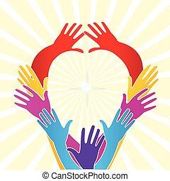 cuore, amore, unità, forma, mani, logotipo