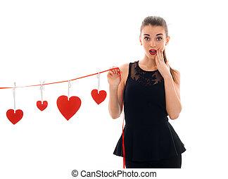 cuore, amore, valentine, concept., isolato, giovane, studio, attraente, fondo, bianco, ragazza, giorno, rosso