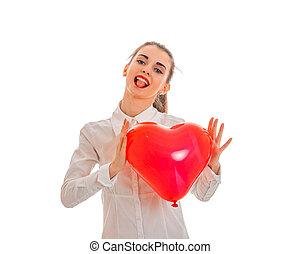 cuore, amore, valentine, concept., isolato, giovane, studio, sfondo rosso, bianco, ragazza, giorno, felice