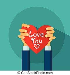 cuore, amore, valentines, augurio, forma, mani, presa, giorno, scheda
