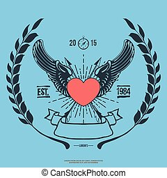 cuore, angelo, vendemmia, frecce, vettore, hipster, logotipo, attraversato